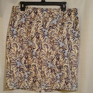 Ann Taylor Petite White Blue Pencil Skirt Sz 12P